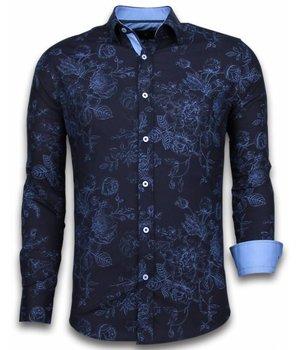 Gentile Bellini Italiaanse Overhemden - Slim Fit Overhemd - Blouse Chalk Flower Pattern - Blauw