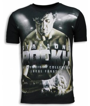 Local Fanatic Rocky Heavyweight - Digital Rhinestone T-shirt - Zwart