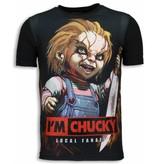 Local Fanatic I´m Chucky - Digital Rhinestone T-shirt - Zwart