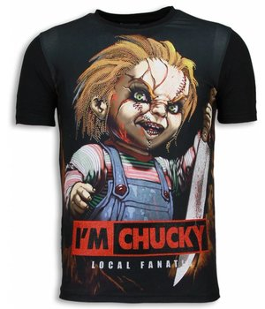 Local Fanatic I´m Chucky - Digital Rhinestone T-shirt - Zwart