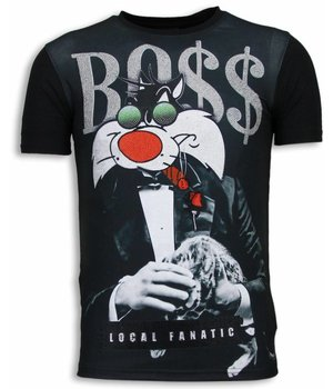 Local Fanatic Sylvester Bo$$ - Digital Rhinestone T-shirt - Zwart