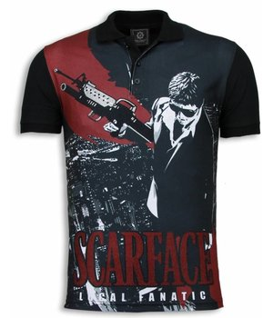 Local Fanatic Scarface City View - Digital Rhinestone Polo - Zwart