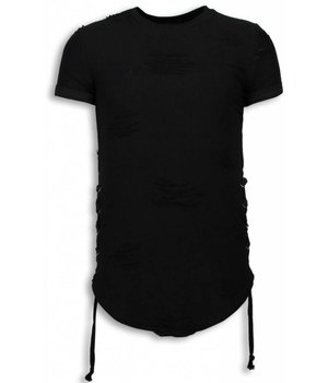 John H Destroyed Look T-shirt - Ribbon Long Fit Sweater - Zwart