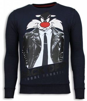 Local Fanatic Pussy Cat - Rhinestone Sweater - Blauw