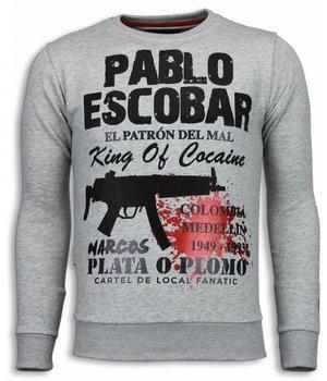 Local Fanatic Pablo Escobar - Rhinestone Sweater - Grijs