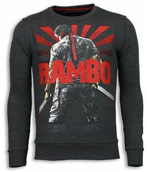 Local Fanatic Rambo - Rhinestone Sweater - Antraciet