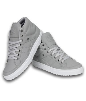 Cash Money Heren Schoenen - Heren Sneaker Mid High - Grey White - Grijs