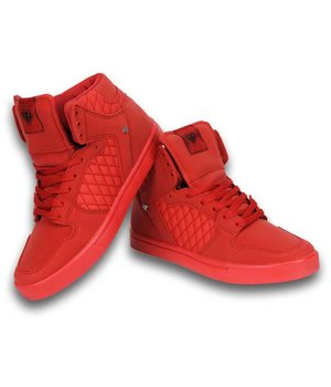 Cash Money Heren Schoenen - Heren Sneaker High - Jailor Red Matt Full Red - Rood