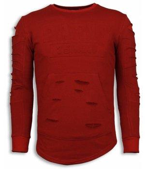 John H 3D Stamp PARIS Trui - Damaged Sweater - Rood