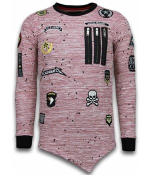 Local Fanatic Longfit Asymmetric Embriordry - Sweater Patches - US Army - Roze