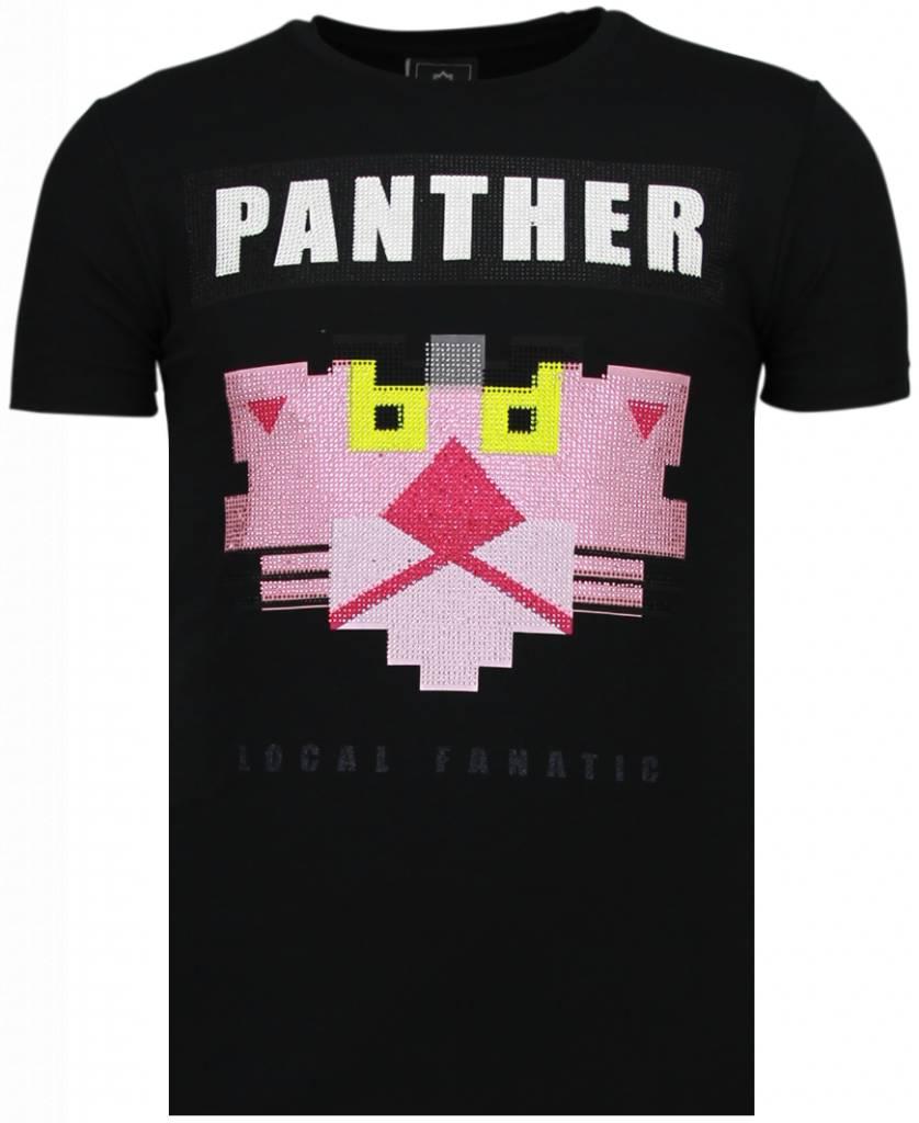 Panther For A Cougar - Rhinestone T-shirt - Zwart