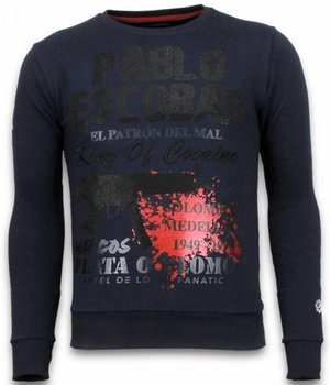 Local Fanatic Pablo Escobar - Rhinestone Sweater - Blauw
