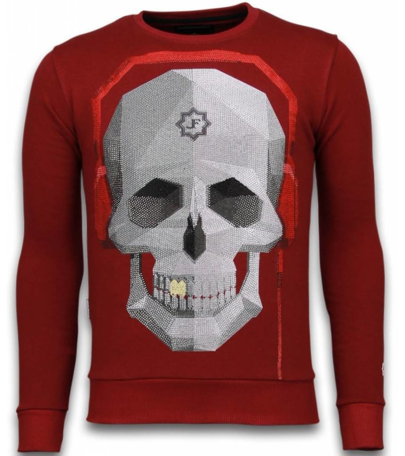 Local Fanatic Skull Beat - Rhinestone Sweater - Bordeaux