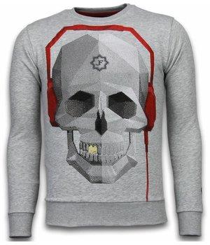 Local Fanatic Skull Beat - Rhinestone Sweater - Grijs