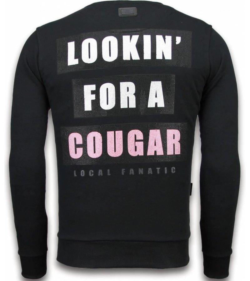 Local Fanatic Panther - Rhinestone Sweater - Black