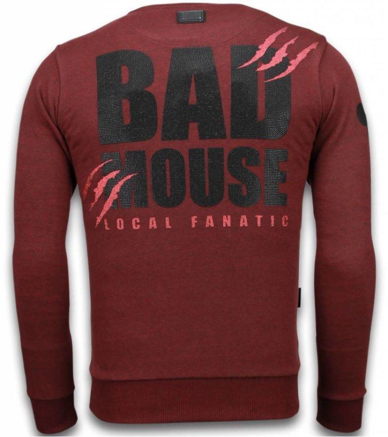 Local Fanatic Bad Mouse - Rhinestone Sweater - Bordeaux