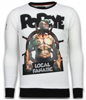 Local Fanatic Popeye - Rhinestone Sweater - Wit