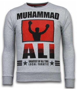 Local Fanatic Muhammad Ali - Rhinestone Sweater - Grijs