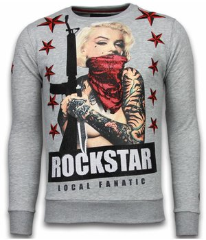 Local Fanatic Marilyn Rockstar - Rhinestone Sweater - Grijs