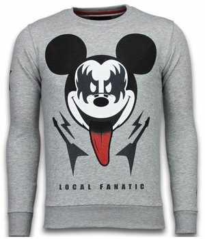 Local Fanatic Kiss My Mickey - Rhinestone Sweater - Grijs
