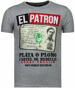 Local Fanatic El Patron Narcos Billionaire - Rhinestone T-shirt - Grijs
