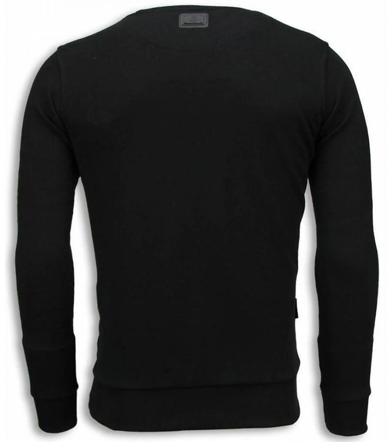 Local Fanatic Bob Marley - Digital Rhinestone Sweater - Zwart