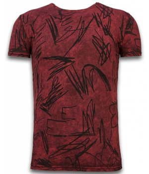 Hey Boy Exclusief Dip Dye T-shirt - Scratches - Bordeaux