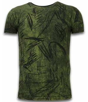 Hey Boy Exclusief Dip Dye T-shirt - Scratches - Khaki