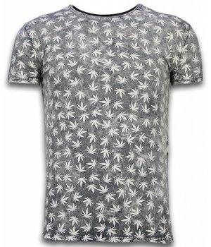 Hey Boy Exclusief Dip Dye T-shirt - Allover Weed Leaf - Grijs