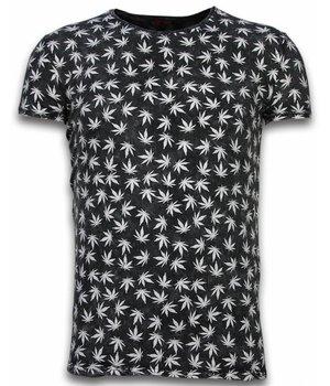 Hey Boy Exclusief Dip Dye T-shirt - Allover Weed Leaf - Zwart