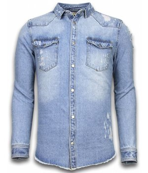 Enos Spijkerjasje - Denim Shirt - Spijkerblouse Slim Fit - Damaged Sleeves - Blauw