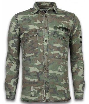 Bread & Buttons Exclusief Overhemd - Slim Fit Lange Mouwen Heren - Camouflage Pattern - Groen