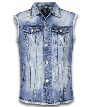 Bruno Leoni Spijkerjasje - Spijkerjasje Heren Denim Gilet Sleeveless - Damaged Look - Blauw