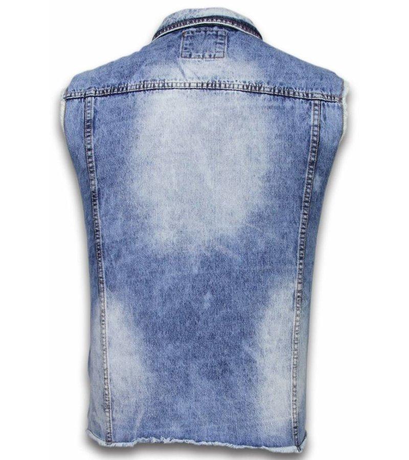 Bruno Leoni Spijkerjasje - Spijkerjasje Heren Denim Gilet Sleeveless - Damaged Look - Blauw