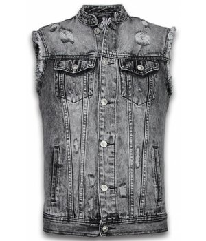 Bruno Leoni Spijkerjasje - Spijkerjasje Heren Denim Gilet Sleeveless - Damaged Look - Zwart