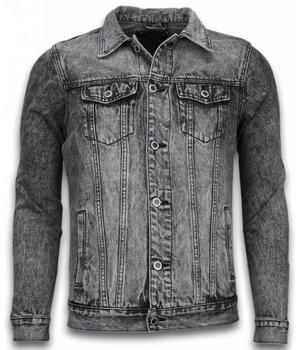Bruno Leoni Spijkerjasje - Spijkerjasje Heren Denim Jacket - Stonewashed Look - Grijs