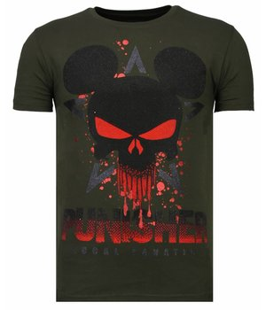Local Fanatic Punisher Mickey - Rhinestone T-shirt - Khaki