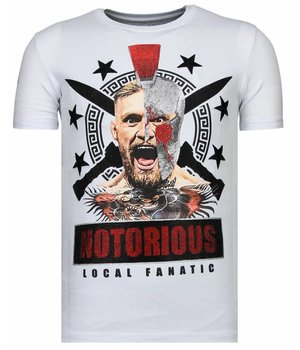 Local Fanatic Notorious Warrior - McGregor Rhinestone T-shirt - Wit