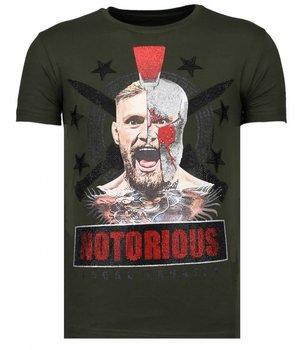 Local Fanatic Notorious Warrior -McGregor Rhinestone T-shirt - Khaki