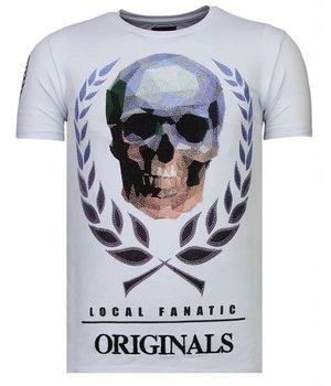 Local Fanatic Skull Originals - Rhinestone T-shirt - Wit