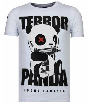 Local Fanatic Terror Panda - Rhinestone T-shirt - Wit