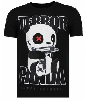 Local Fanatic Terror Panda - Rhinestone T-shirt - Zwart