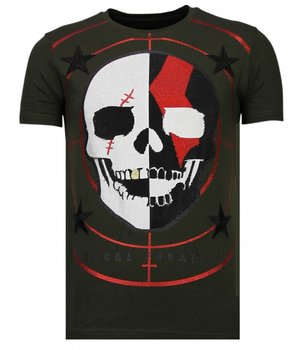 Local Fanatic God Of War - Rhinestone T-shirt - Khaki