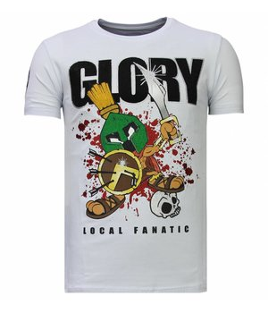 Local Fanatic Glory Martial - Rhinestone T-shirt - Wit