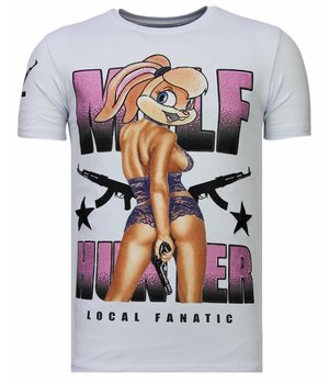 Local Fanatic Milf Hunter - Rhinestone T-shirt - Wit