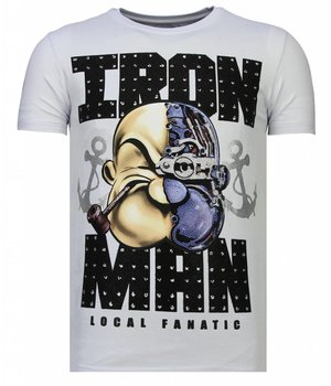 Local Fanatic Iron Man Popeye - Rhinestone T-shirt - Wit