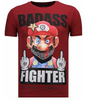 Local Fanatic Fight Club Mario - Rhinestone T-shirt - Bordeaux