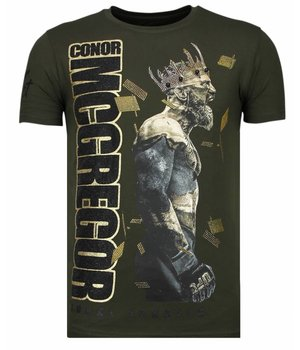 Local Fanatic Notorious King - Conor McGregor Rhinestone T-shirt - Khaki