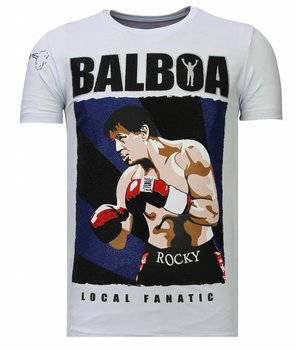 Local Fanatic Balboa - Rhinestone T-shirt - Wit