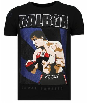 Local Fanatic Balboa - Rhinestone T-shirt - Zwart